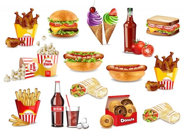 Fast food meals set coleção