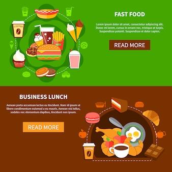 Fast food negócios almoço plana banners