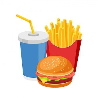Fast-food refeição hambúrguer colorido batatas fritas e refrigerante isolado no branco