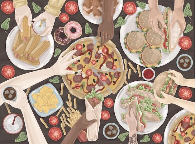 Fast-food, reunião amigável, celebração, conjunto de almoço