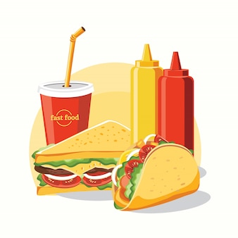 Fast-food, saboroso conjunto fast-food isolado no branco