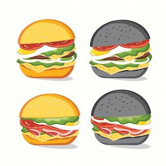 Fast-food, saboroso conjunto fast-food isolado no branco