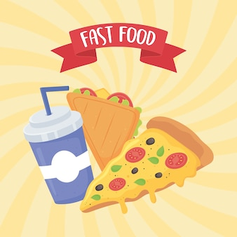 Fast food, sanduíche de pizza e refrigerante com canudo