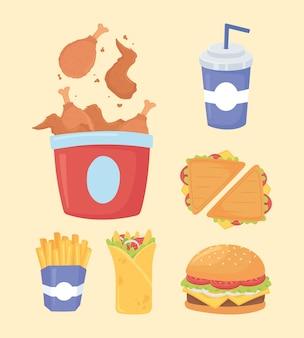 Fast food, sanduíches de frango, hambúrguer com batata frita e refrigerante