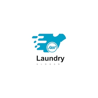 Fast laundry logo design vector