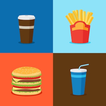 Fastfood junk food cartoon icons