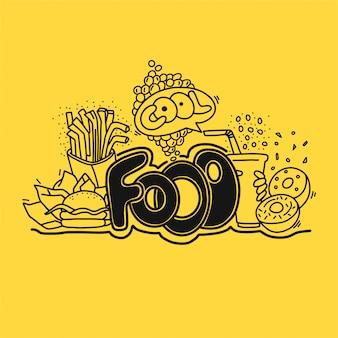 Fastfood mão ilustrações desenhadas