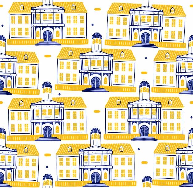 Fatahillah museum seamless pattern em estilo design plano
