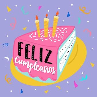 Fatia de bolo de aniversário com velas