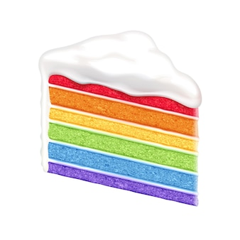 Fatia de bolo de arco-íris em fundo branco.
