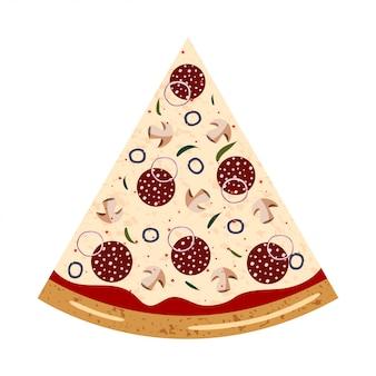Fatia de calabresa vista superior da pizza com ingredientes diferentes: salame, cogumelo, cebola, azeitona, pimenta