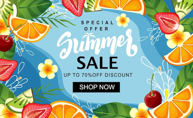 Fatia de fruta de modelo de banner de venda de verão