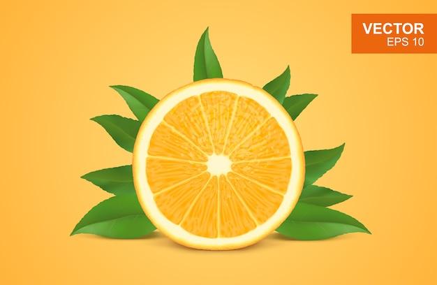 Fatia de ilustração 3d realista de laranja fresca