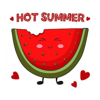 Fatia de kawaii dos desenhos animados de melancia, cartão de verão