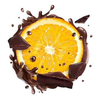 Fatia de laranja com pedaços de chocolate e salpicos.