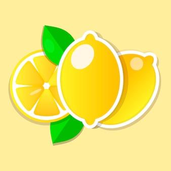 Fatia de limão fresco e inteiro com folhas. ilustração vetorial.