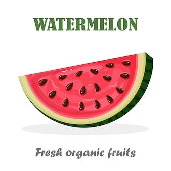 Fatia de melancia com casca e sementes no fundo. frutas de verão para dieta vegetariana, vida saudável.