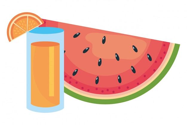 Fatia de melancia e suco
