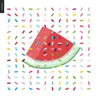 Fatia de melancia e um padrão sem emenda