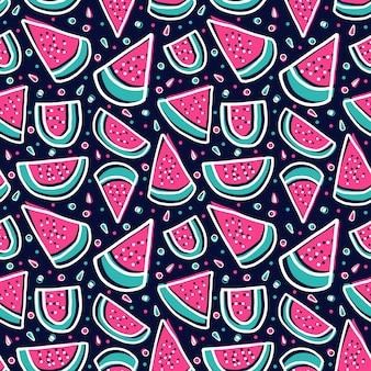 Fatia de melancia padrão de frutas frescas tropicais coloridas