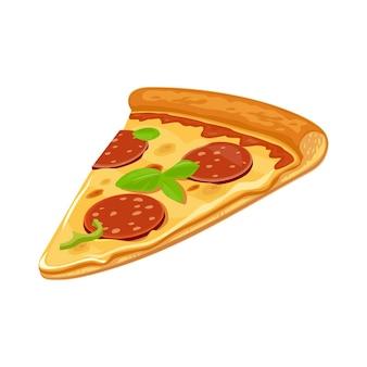 Fatia de pizza de calabresa. ilustração plana em vetor isolado para cartaz, menus, logotipo, folheto, web e ícone. fundo branco.