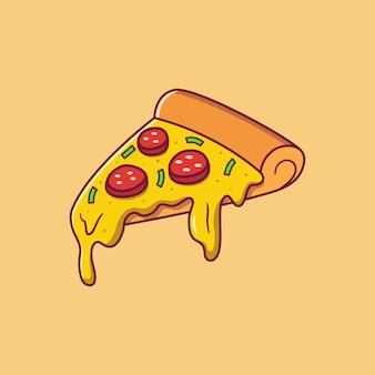 Fatia de pizza de calabresa voadora com queijo escorrendo