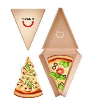 Fatia de pizza embalada em caixa isolada no branco
