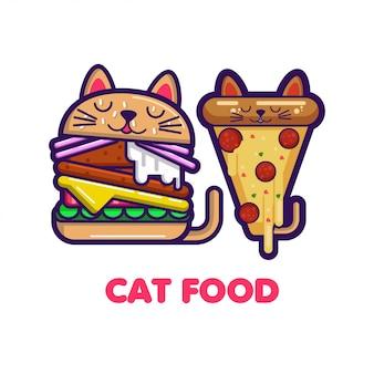 Fatia de pizza engraçada e hambúrguer com orelhas de gato.