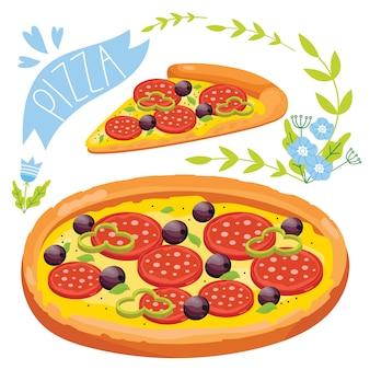 Fatia de pizza isolada no fundo branco