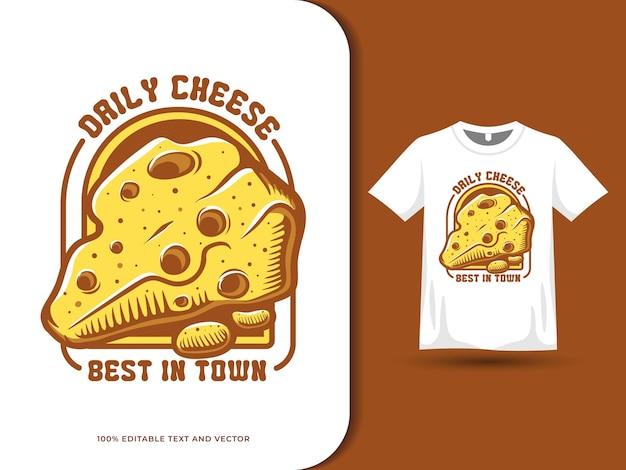 Fatia de queijo cartoon logotipo de comida e design de camiseta
