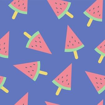 Fatia fresca de vetor de melancia sem costura padrão em fundo azul - verão na moda símbolo de vetor simples para design de web site - minimalismo