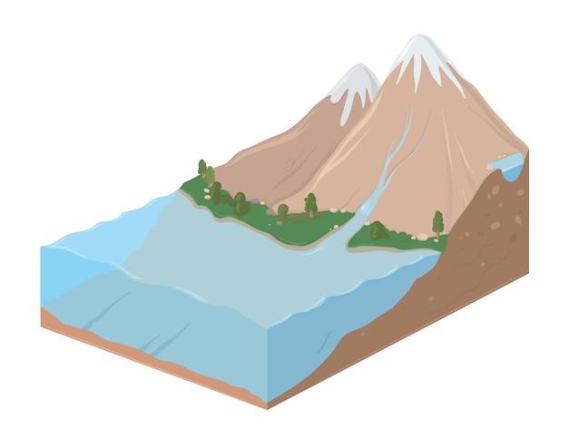 Fatia retangular da terra com ilustração da paisagem montanhosa e do oceano.