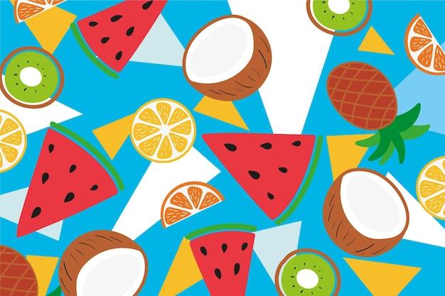 Fatias de abacaxi e frutas exóticas