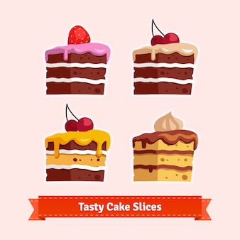 Fatias de bolo saboroso