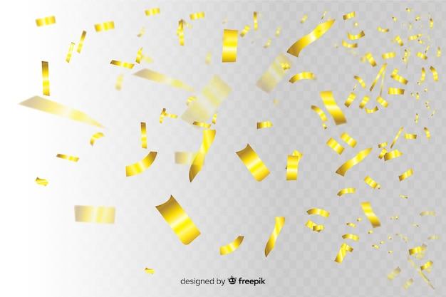 Fatias de confete dourado caindo fundo