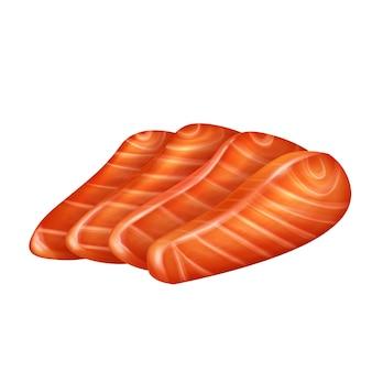 Fatias de filé de salmão vector a ilustração isolada realista. pedaços de peixe vermelho cru ou truta.