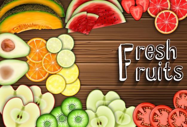 Fatias de frutas frescas no fundo da tabela