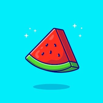 Fatias de ilustração de ícone de vetor de desenhos animados de melancia. conceito de ícone de fruta alimentar. estilo flat cartoon