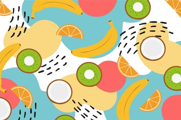 Fatias de kiwi e frutas cítricas com bananas