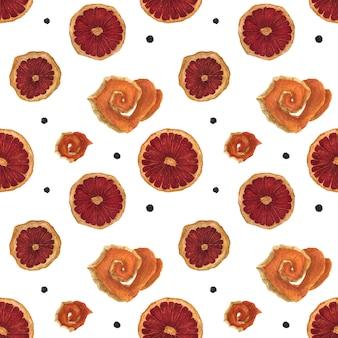 Fatias de laranja aquarela sem costura padrão seco