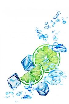Fatias de limão caindo na água com bolhas e cubos de gelo