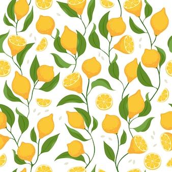 Fatias de limão e frutas inteiras sem costura padrão.