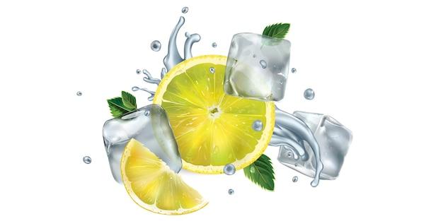 Fatias de limão, folhas de hortelã e cubos de gelo com respingos de água