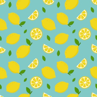 Fatias de limão sem costura padrão. frutas cítricas