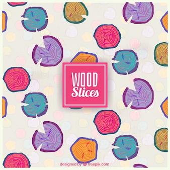 Fatias de madeira coloridas