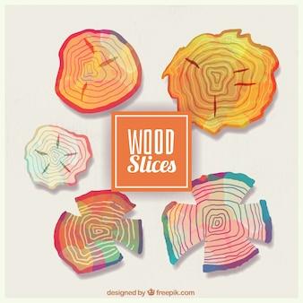 Fatias de madeira pintado com aguarelas