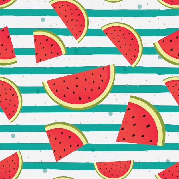 Fatias de melancia em fundo listrado