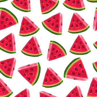 Fatias de melancia, padrão sem emenda. fundo de melancia de verão.