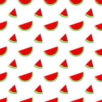 Fatias de melancia vermelha padrão sem emenda. fruta