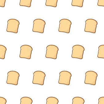 Fatias de pão torrado padrão sem emenda em um fundo branco. ilustração em vetor tema pastelaria de padaria